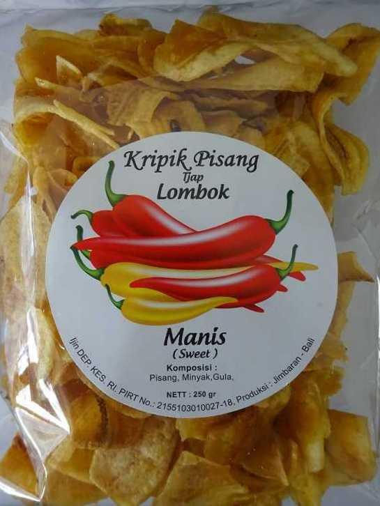 Keripik pisang dari Tjap Lombok. Manis atau original. Enak sekali