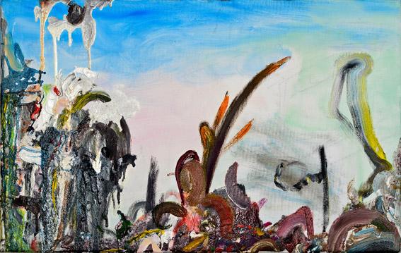"""selbsterhaltungstrieb""  •  2021  •  50 x 80 cm •  oil on polyester banner"
