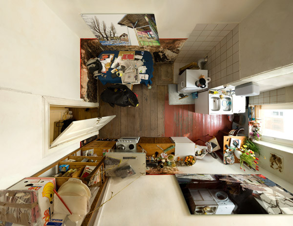 """kitchen in top view"" • 2010 • 220x285cm (108x140cm) / 87x112"" (43x55"")"