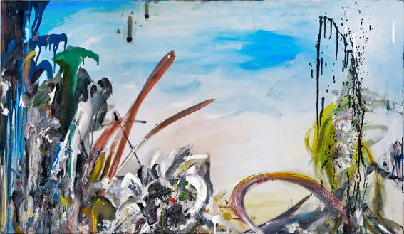 """vordergründige täuschung""  •  2021  •  60 x 105 cm •  oil on polyester banner"