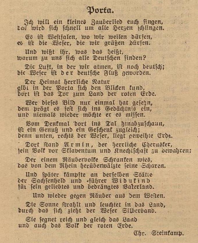 """Gedicht """"Porta"""" - erschienen in den Mindener Heimatblättern Nr.3 1923"""