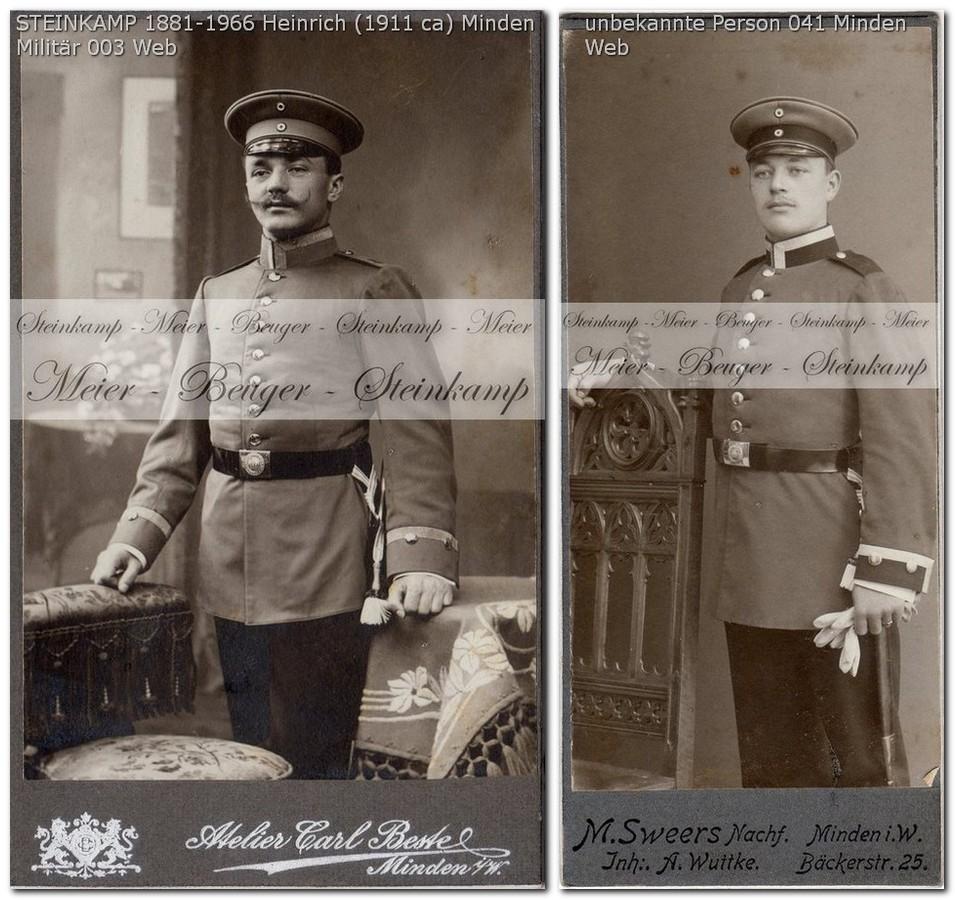 041: Vergleich mit Uniform Heinrich Steinkamp, ca. 1911 - vermutlich Hannoversche Pionier-Bataillon Nr. 10.