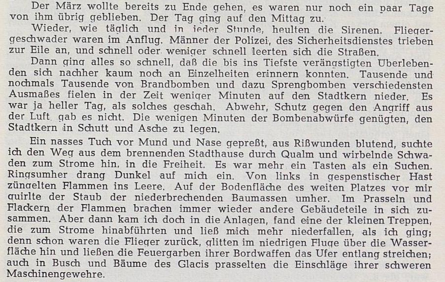 """Aufsatz """"Bomben auf Minden"""" (Ausschnitt) - erschienen in den Mindener Heimatblättern Nr.1 1949"""