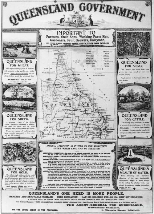 Werbeplakat für die Auswanderung nach Queensland. Quelle: Queensland Historical Atlas