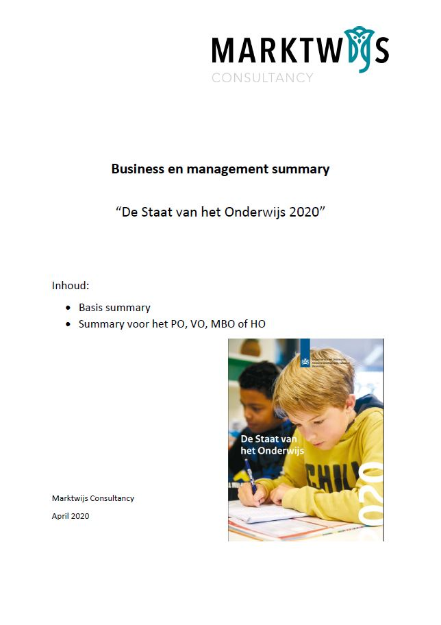 """Business summary """"Staat van het Onderwijs 2020"""""""