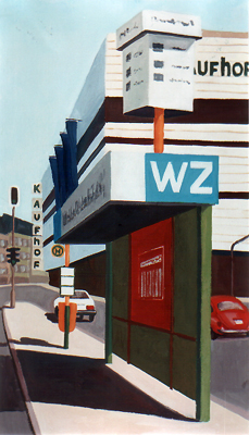 <b>Haltestelle Tonhallenstraße</b><br>Gouache   1988   35 x 20 cm<br><small>(Privatbesitz)
