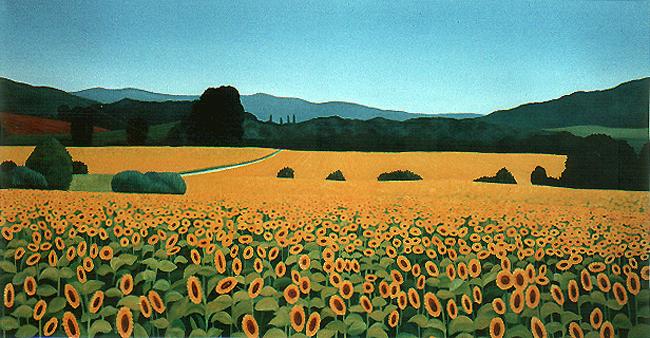 <b>Girasole III</b><br>Öl/Leinwand | 1996 | 80 x 150 cm<br><small>(Privatbesitz)
