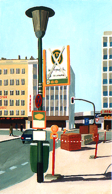 <b>Haltestelle Liesegangstraße</b><br>Gouache/Papier   1988   35 x 20 cm