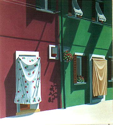 <b>XV. Burano</b><br>Mischtechnik/Karton | 1994 | 50 x 45 cm<br><small>(Privatbesitz)
