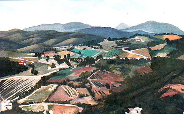 <b>Poggio di Montieri</b><br>Gouache/Papier | 1990 | 19,2 x 30,0 cm<br><small>(Privatbesitz)