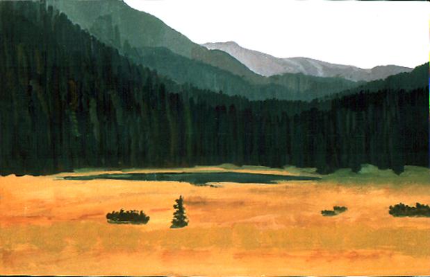 <b>Wildsee</b><br>Gouache | 1988 | 16,5 x 26 cm<br><small>(Privatbesitz)