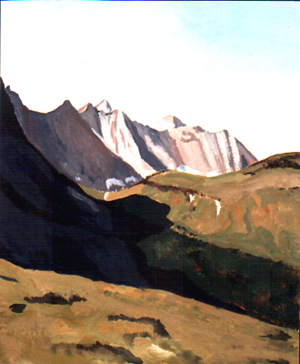 <b>Lariderer Wände</b><br>Gouache | 1988 | 23 x 19 cm<br><small>(Privatbesitz)