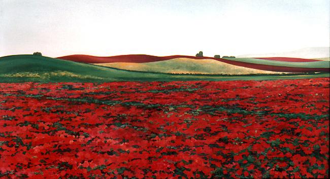 <b>Papavero I</b><br>Öl/Leinwand | 1992 | 110 x 200 cm<br><small>(Privatbesitz)