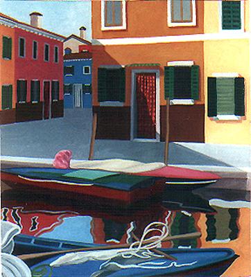 <b>XXIII. Burano</b><br>Mischtechnik/Karton | 1995 | 50 x 45 cm<br><small>(Privatbesitz)