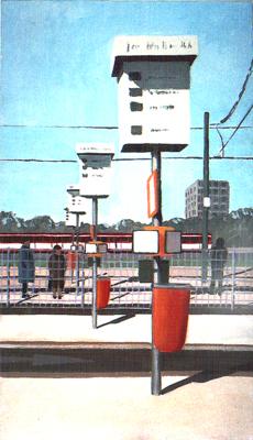 <b>Haltestelle Jan-Wellem-Platz</b><br>Gouache   1988   35 x 20 cm<br><small>(Privatbesitz)