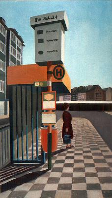 <b>Haltestelle Bilker Bahnhof</b><br>Gouache/Papier   1988   35 x 20 cm