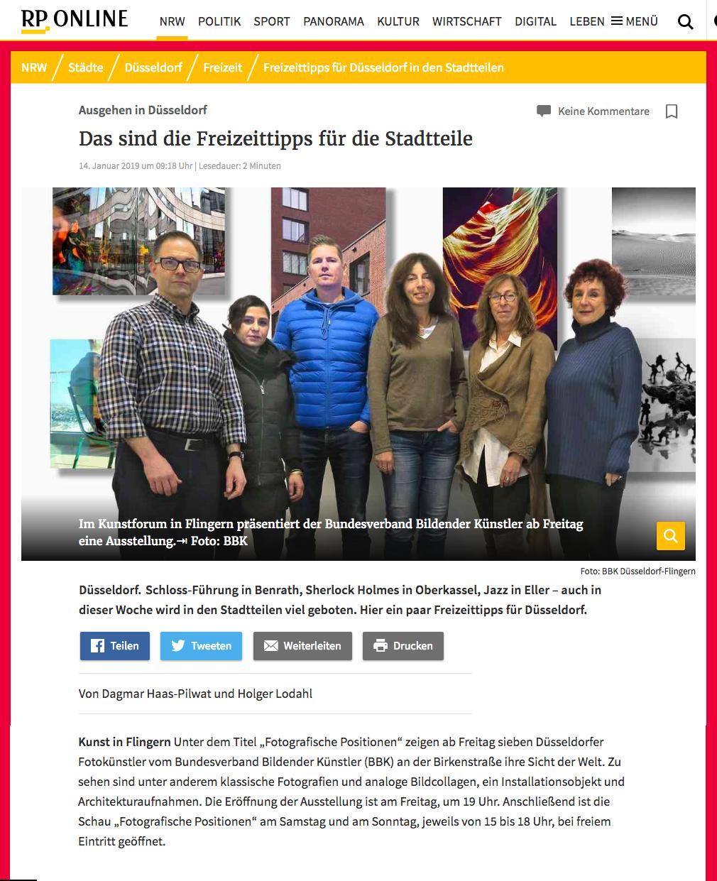 © Rheinische Post, Holger Lodahl und Dagmar Haas-Pilwat (Text), BBK (Foto), 14.01.2019