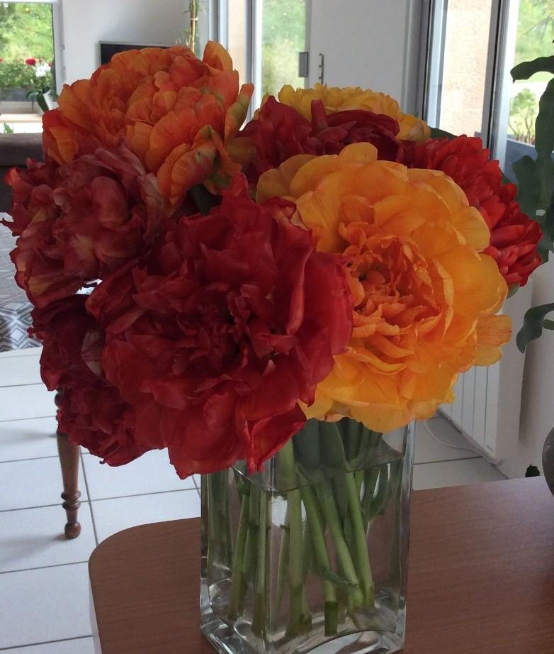 Catherine et Norbert Béatrix : Bouquet de tulipes à fleur de pivoine