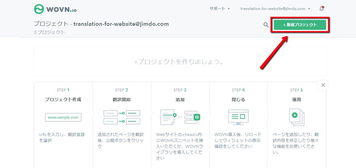1.WOVN.io にログイン し、画面右上の「新規プロジェクト」をクリック