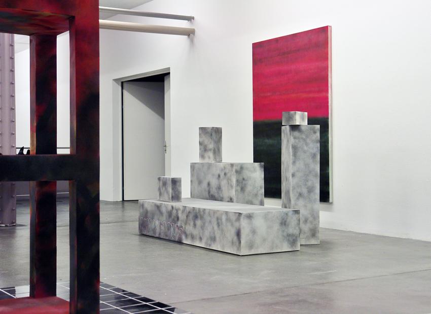 Ausstellungsansicht Kunsthalle Vebikus Schaffhausen 2018, Anomalous, spray paint on plasterboard,variable size. Background spray paint on cotton, 150x200cm, 2018