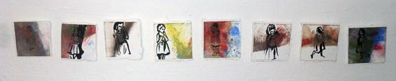 Série petite fille /Seri Kücük kiz( pigments et encre de chine  sur papier marouflé sur toile en platre, 2013)