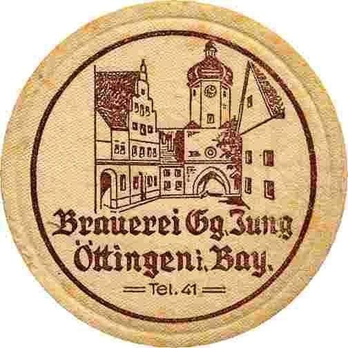 Bierdeckel Brauerei Georg Jung, Oettingen