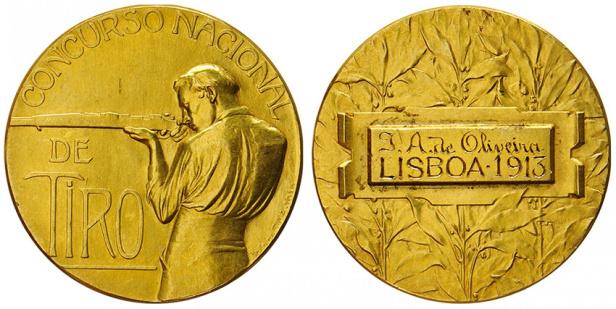 João da Silva - Medalha de mérito para o Concurso Nacional de Tiro (1915) ouro