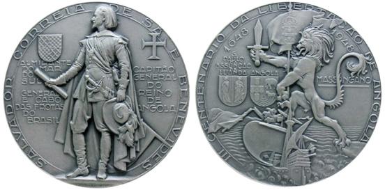 João da Silva - Medalha alusiva a Salvador Correia de Sá e Benevides e comemorativa do centenário da libertação de Angola (1948)