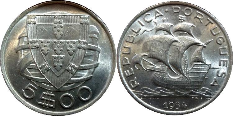 João da Silva - 5 Escudos Prata 1934