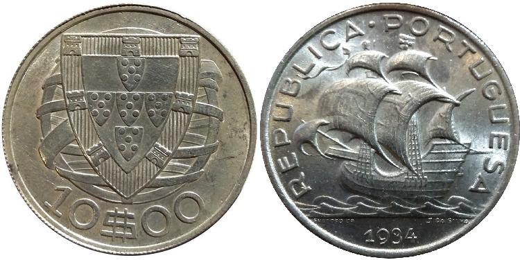 João da Silva - 10 Escudos Prata 1934