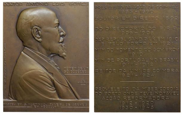 João da Silva - Medalha plaqueta dedicada António Luís Gomes (1948)