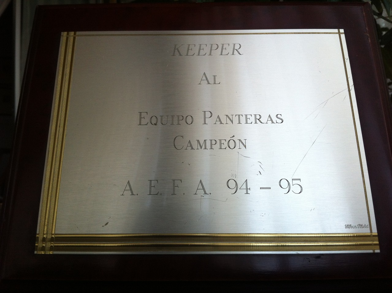 Trofeo Keeper Campeón Liga 94-95