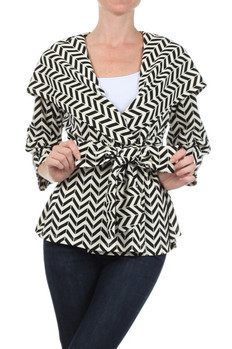 Horizontal chevron striped jacket with a belted waist. Jacket features large lapels and a hood on back.   100% POLYESTER Made In: China Sizes: S M L  PRICE  €139.75