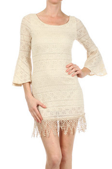 Scoop neck, crochet-knit dress with 3/4th bell sleeves and lining.   60 Polyester, 35% Rayon, 5% Spandex Made In: USA Sizes: S M L  PRICE  €149.75