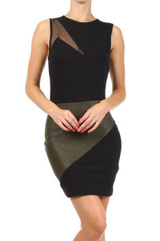 Sleeveless, colorblock fitted dress with asymmetrical mesh cut out and contrast faux leather panel.   33% Nylon, 62% Viscose, 5% Spandex Made In: USA Sizes: S M L  PRICE  €99.50