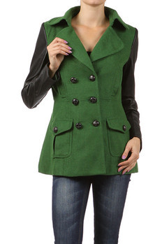 Thigh length, solid peacoat with faux leather sleeves and pockets. 55% Wool, 45% Polyester. Made In: Import PRICE  €198.50
