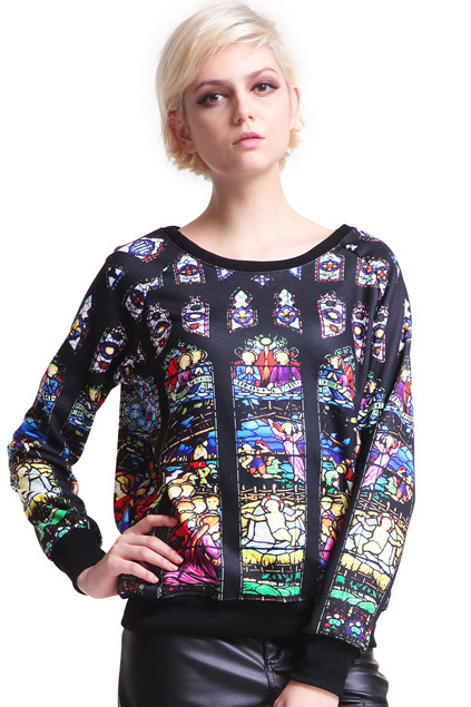 PORTRAIT PRINT BLACK PULLOVER PRICE €134.99