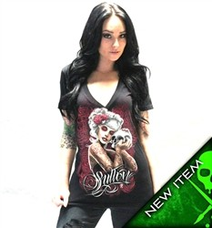 Sullen Angels Mourning Glory Vneck Shirt Black  Price €34.00