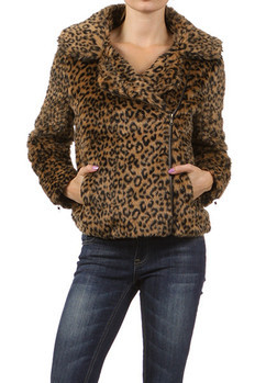 Faux fur, leopard print, bomber jacket.   Made In: Import Sizes: S M L  PRICE  €320.50