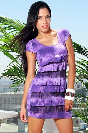 PURPLE TIE-DYE CAP SLEEVE RUFFLE DRESS PRICE €54.00 only Style No.BB-07-PURPLMaterial 65% Cotton. 35% Polyester. Origin China Description Information unavailable. ColorPurpleSizeS-M-L
