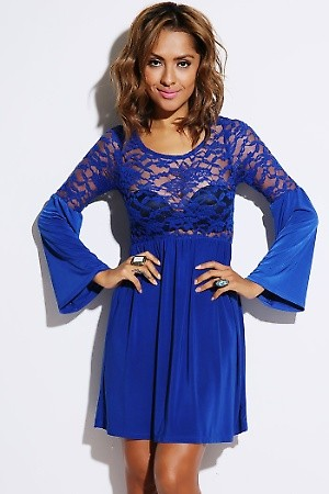 Royal blue sheer lace bell sleeve retro party mini dress PRICE €54.00 only Style No.XT-11-BLU Material 96% Polyester, 4% Spandex Origin United States Description Information unavailable. ColorBlueSizeS-M-L