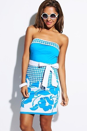 """Aqua Blue/White Printed Sash Tie Party Mini Dress  PRICE €54.00 only Style No.CL-28-BLUWHTPRNTMaterial 97% Cotton, 3% Spandex. Made in USA. Size Small Bust Approx 35"""". Recommended for 34B, 36B, 34C. Waist Fits Approx 27""""-28"""". Length Approx 28"""". Orig"""