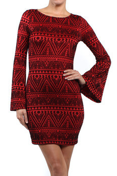 Long bell sleeve mini dress with cut out back in tribal print velvet flocking  95% Polyester, 5% Spandex Made In: USA Sizes: S M L   PRICE  €75.50