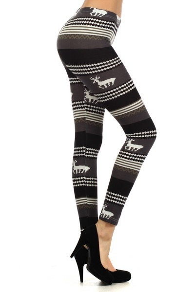 827PT523    Yelete *** Size runs small. Fits S/M ***  Dashing Reindeers is a winter jersey knit leggings with a mid waist raise and slim fitting fashion legging. Fabric: 90% Polyester, 10% Spandex Stock Availability: In Stock Original Price €15.00