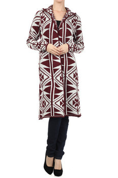 Aztec tribal printed, long, long sleeve open hooded sweater.  100% Acrylic Made In: China Sizes: S M L  PRICE  €92.50