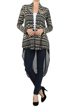 Tribal printed, long sleeve open cardigan with solid back and penguin tail.  96% Polyester, 4% Spandex Made In: USA Sizes: S M L  PRICE  €100.50