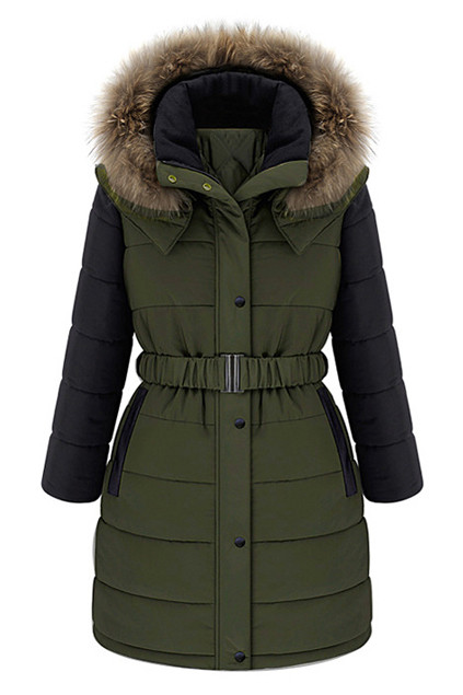 Hitting the road with this color block down coat, featuring faux fur hooded neckline, long sleeves, belt at waist, press stud storm flap and zip up fastener front, twin panel faux leather insert pockets, rhombus print polyester lining. PRICE €230.99