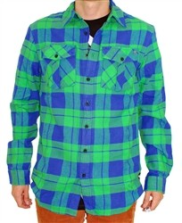 Unit Clothing Flanno Long Sleeve Button Shirt Green  Our Price: €44.99