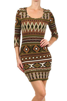 Aztec tribal printed, 3/4ths sleeve fitted scoop neck dress.   95% Polyester, 5% Spandex Made In: USA Sizes: S M L  PRICE  €88.75