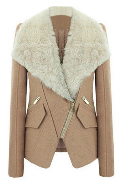 A sophisticated yet elegant winter coat, featuring faux fur lapel, oblique zipper through front, long sleeves and two flaps. Be one step ahead of the fash pack with this stunning coat. Team with black skinny pants and ankle boots fashionably casual appeal